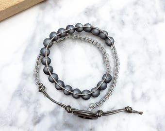 Leather Wrap Bracelet, Beaded Wrap Bracelet, Beaded Leather Wrap Bracelet, Grey Wrap Bracelet, Silver Wrap Bracelet, Handmade Wrap Bracelet