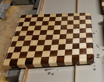 Checkered pattern butcher block