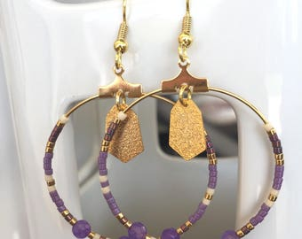 Creole earrings purple, beige and gold