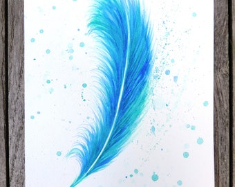 Blue Watercolour Feather Print (A4, A5 and Greetings Card)