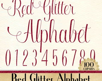 """100 Red Glitter Alphabet Cliparts in 12"""" x 12"""" Separate, 300 Dpi Instant Download, Commercial Use, 100 Transparent Number"""