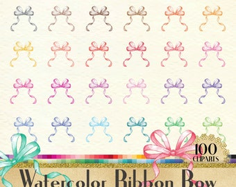 100 Watercolor Ribbon Bow Clipart,100 Watercolor Clipart,PNG Clipart,Planner Clipart,Watercolor Bow,Bridal Shower,Valentine,Baby Shower