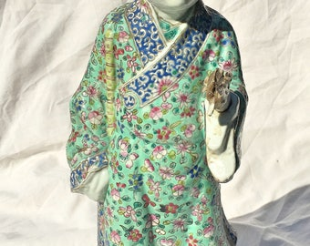 Large Antique Chinese Famille Verte Porcelain Statue of standing holding bamboo stick