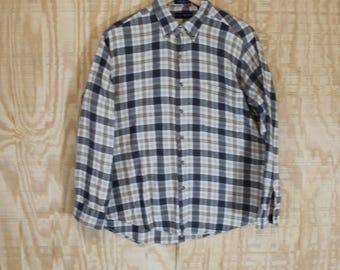 Vintage Soft Cotton Flannel Brown / Cream / Tan Tartan Plaid Button Down Shirt Large