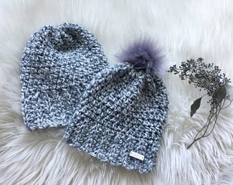 Grey His and Hers Knit Beanies
