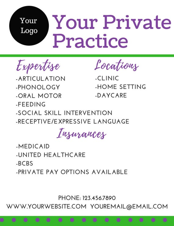 items similar to speech therapy private practice marketing