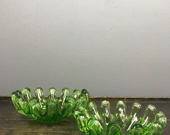 Pair of Green Glass Undulating Edge Nesting Dishes