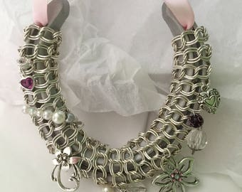 SILVER CHAIN  Hand Decorated Real Lucky Wedding Horseshoe