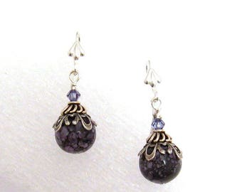Purple Stone Earrings, Lilac Earrings, Round Purple Dangle, Purple Agate Dangle, Violet Earring, Purple Earrings, Plum Dangle