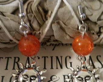 Sun Earrings w/your choice of color beads