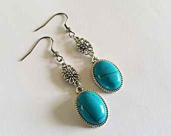 Earrings cabochon turquoise gem stone, Tibetan silver carved flower connector