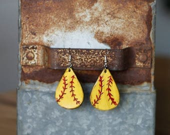 Team Mom Softball Teardrop Earrings   Leather Earrings   Birthday Gift   Sports   Gifts under 25   Handmade   Gifts for Her