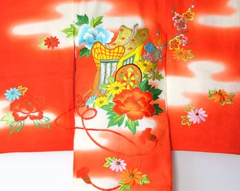 Japanese Vintage Furisode Girl's Kimono Red Flower & Carridge J52