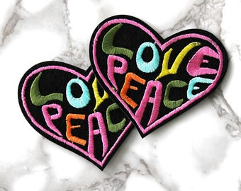 ONE Love Peace Heart Iron On Patch, Word Tag Fabric Patch, Iron On Embroidered Patch, Free Spirit, Hippie Birthday Gifts For Her Under 10