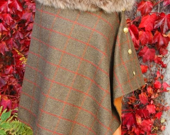 Lovat Tweed Cape/Poncho/Wrap with detachable faux fur collar