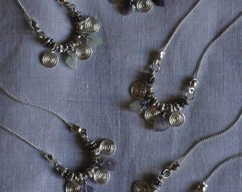 Necklace three silver spirals