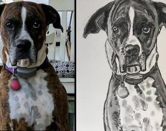 Custom, realistic, whimsical charcoal portraits of kids, pets, animals, family members
