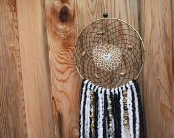 Gold, Black and White Dreamcatcher