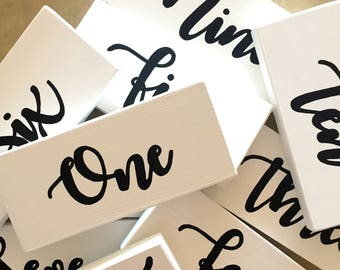 Table Numbers | Wooden Table Numbers | Handwritten Table Numbers | Wedding Sign | Wooden Wedding Sign |Reception Sign