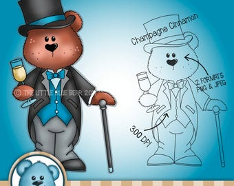 INSTANT DOWNLOAD - Digital digi stamp - Champagne Cinnamon bear