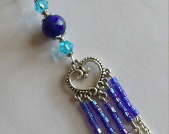 """Pendant 1 """"heart connect/beads rock cut""""-1.8x10.5cm"""