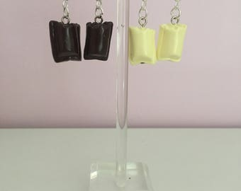Earring square chocolate