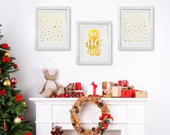 Real Foil Ho Ho HO, Gold Foil, Holiday Decoration, Actual Foil Print, Set of 3 Christmas Decorations, Ornaments, Modern Gold Decor, Winter