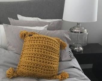 Boho Tassel Acrylic Wool Crochet Cushion