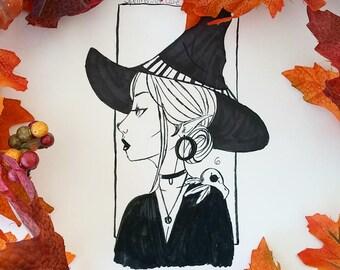 Inktober Witch Art Prints