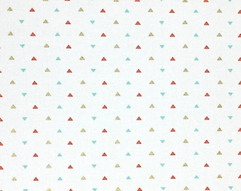 Triangle Cotton Fabric, Gold Red Blue, 100% Cotton, Fabric By the Yard, Quilting Fabric, Apparel Fabric, Triangle Print Fabric