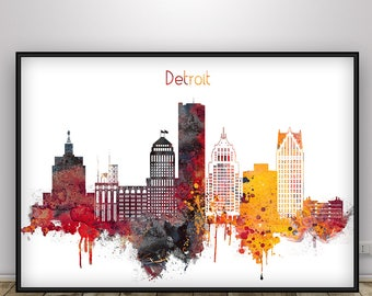 Detroit Skyline, Detroit Michigan Cityscape Art Print, Travel poster, Wall art, Home decor, Gift, watercolour art print