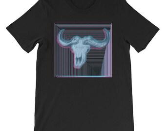 Water Buffalo Skull Vintage Style Vaporwave Aesthetic T-shirt