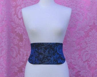 Underbust Brocade black and blue with Paisley design
