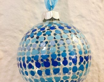Blue Hand Painted Christmas Ornament