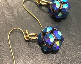 Blue Disco Ball Earrings