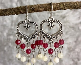 Ruby Earring, Moonstone Earring, Drop Earring, Chandelier Earring, Ruby Birthstone Jewelry, July Birthstone, Gift for her.