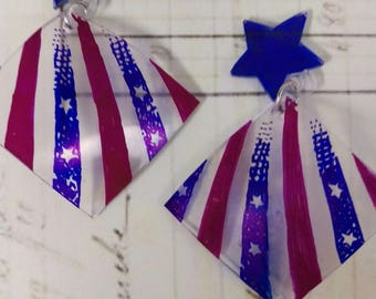 Stars and Stripes Flag Earrings