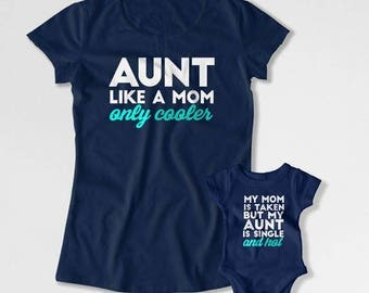 Aunt And Niece Matching Shirts Aunt And Nephew T Shirts Family Gifts For Aunts From Niece And Nephew Aunty Aunt To Be Auntie TEP-375-376