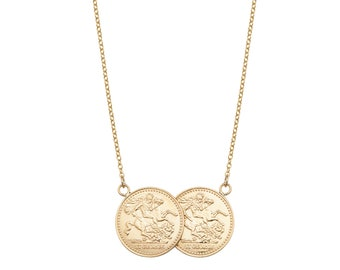 "Solid 9ct Gold St George Double Half Sovereign Coin 17"" Necklace 6.5g"