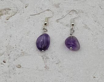 Sale ~ Freeform Amethyst drop hook earrings