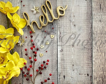 Yellow & Red Floral Styled Stock Photo / Wooden Backdrop / Styled Stock Photography / Lifestyle Stock Image / Frankly Photos File #7
