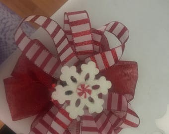 Candy Cane Striped Snowflake Peppermint Hairbow