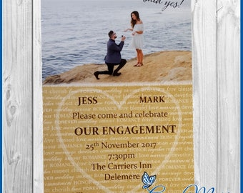 10  Engagement Party Invitation Cards Personalised Invites Beach Design including Envelopes