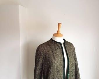 50's Olive Green Ribbon Work Jacket with Emerald Green Velvet Trim Soutache MEDIUM US 10-12 UK 14-16