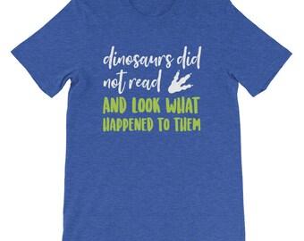 Bibliophile Bookworm Book Lover Tee   Bookish Librarian Gift Dinosaur Shirt    Mens Sizes S-4X