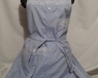 Blue Lacy Lady- Upcycled Apron from Man's Shirt