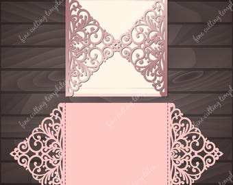 Wedding Invitation card template for cutting, laser cut. Cutout paper gate fold card, Digital Instant Download. (svg, dxf, eps10, studio3)