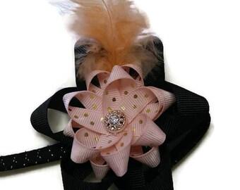 Hair Bow Headband Boutique Bow Accessory Black and Peach Bow Headband Girls Headband Toddler Hair Bow Baby Headband Polka Dot Bow