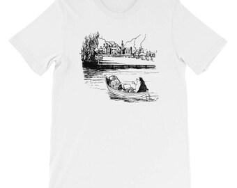 Cute Hedgehog Shirt | Hedgehog and Owl Short-Sleeve Unisex T-Shirt | Hand Drawn Hedgehog & Owl Artwork | Hedgehog Lover Gift | Gifts For Her