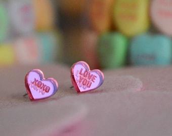 Pink Sweetheart Stud Earrings - PINK MIRROR ACRYLIC